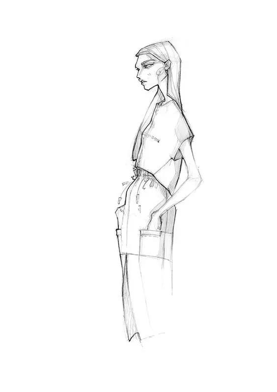 服装效果图作为设计稿图 为了美感 人体比例加长到八九头身     想